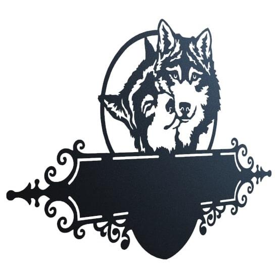 Два волка - DXF макет таблички на дом для ЧПУ лазерного станка